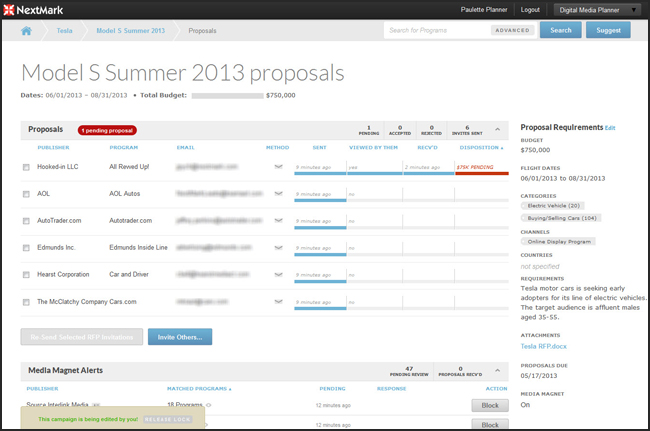 NextMark Planner RFP Manager Visualization